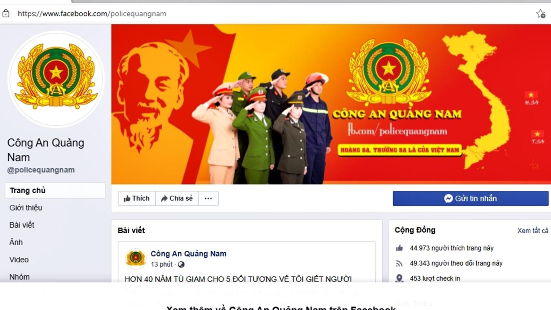 """Giao diện fanpage """"Công an Quảng Nam"""". Ảnh: Đ.Y"""