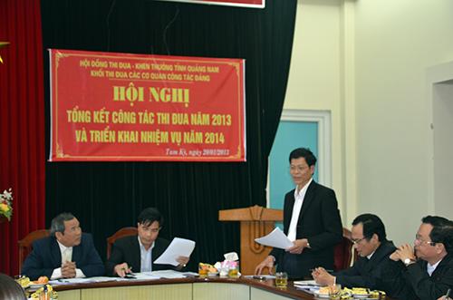 Đồng chí Nguyễn Văn Sỹ -  Phó Bí thư Thường trực Tỉnh ủy phát biểu tại hội nghị.