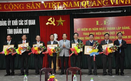 Đảng viên tại các tổ chức xây dựng Đảng nhận Huy hiệu 30 năm tuổi Đảng.