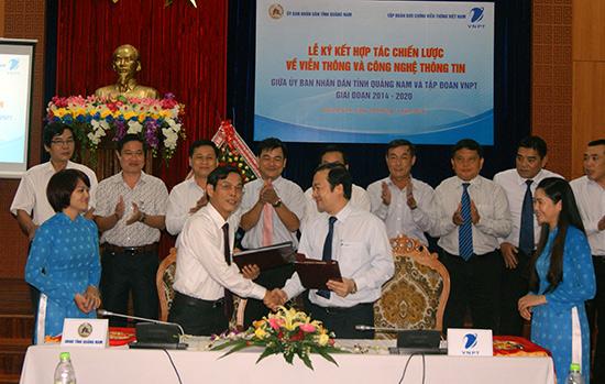 Ký kết hợp tác chiến lược về viễn thông - công nghệ thông tin giai đoạn 2014 - 2020  giữa UBND tỉnh Quảng Nam và Tập đoàn Bưu chính - viễn thông Việt Nam.