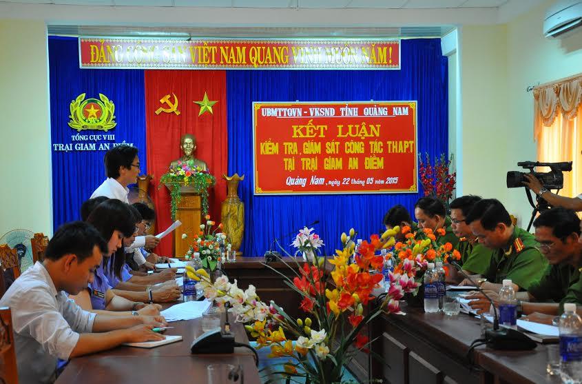 Đoàn liên ngành của tỉnh thông qua báo cáo kết quả giám sát tại Trại giam An Điềm chiều 22.5.