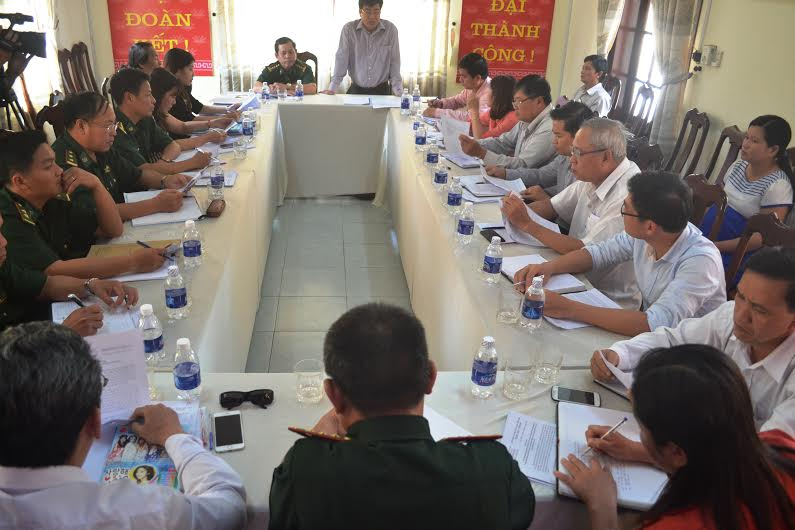 Đoàn công tác làm việc với Ủy ban MTTQ Việt Nam huyện Núi Thành. Ảnh: Q.V