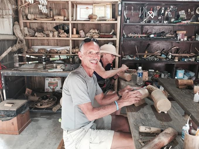 Handcrafted: Tourists practise bamboo crafts at a shop in Cẩm Thanh village, near Hội An city. The shop offers a two-hour course for visitors on how to make bamboo souvenirs.
