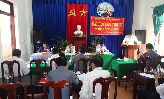 Đại hội Chi bộ Ủy ban MTTQ Việt Nam huyện Phú Ninh lần thứ III, nhiệm kỳ 2015 - 2020.  Ảnh: M.T