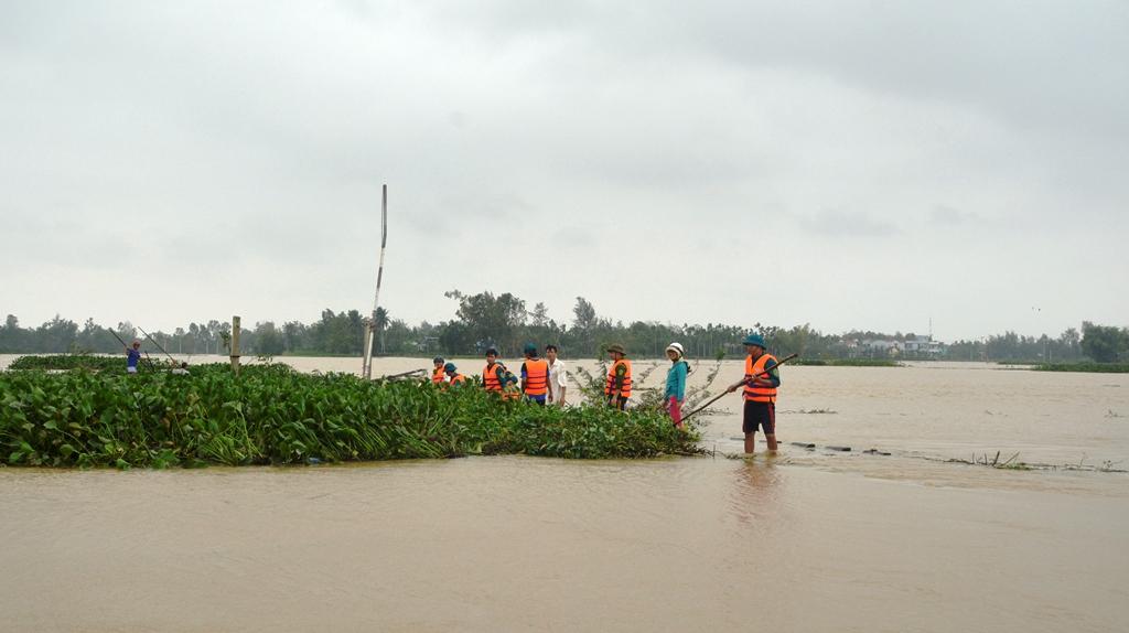 Các lực lượng của xã Cẩm Kim khơi thông dòng chảy tại khu vực đập tràn. Ảnh: XUÂN THỌ