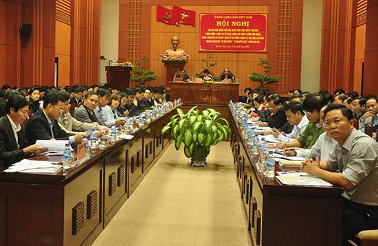Quang cảnh hội nghị tại điểm cầu Quảng Nam. Ảnh: NGUYÊN ĐOAN