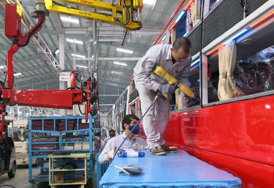 Nhà máy Thaco bus đã hoạt động bình thường trở lại.Ảnh: T.D
