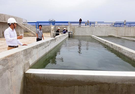 Hệ thống xử lý nước thải tập trung tại KCN Tam Thăng, TP. Tam Kỳ sắp hoàn thiện.Ảnh: T.D