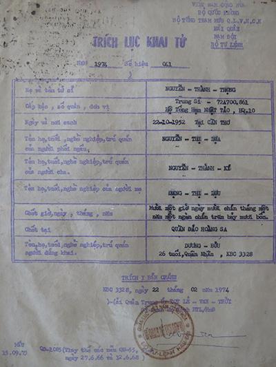 Trích lục khai tử quân nhân Nguyễn Thành Trọng trong trận hải chiến Hoàng Sa, ngày 19/1/1974. Nguồn: Bảo tàng Đà Nẵng.