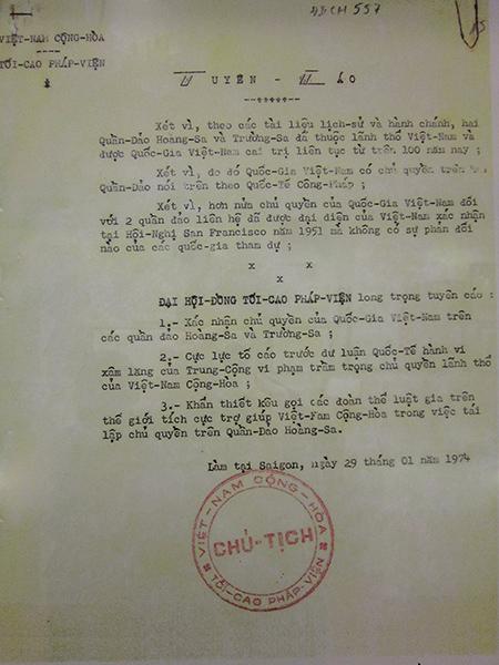 Tuyên cáo của Đại hội đồng Tối cao Pháp viện Việt Nam Cộng hòa (29.1.1974). Nguồn: Bảo tàng Đà Nẵng.