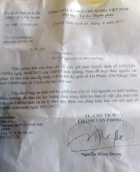 Công văn của UBND tỉnh truyền đạt ý kiến của Chủ tịch UBND tỉnh yêu cầu lực lượng chức năng điều tra làm rõ việc giả mạo văn bản của UBND tỉnh.Ảnh: TRẦN HỮU