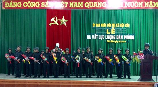 Đội dân phòng thị xã Điện Bàn góp phần đảm bảo an ninh trật tự cơ sở hiệu quả. Ảnh: V.M