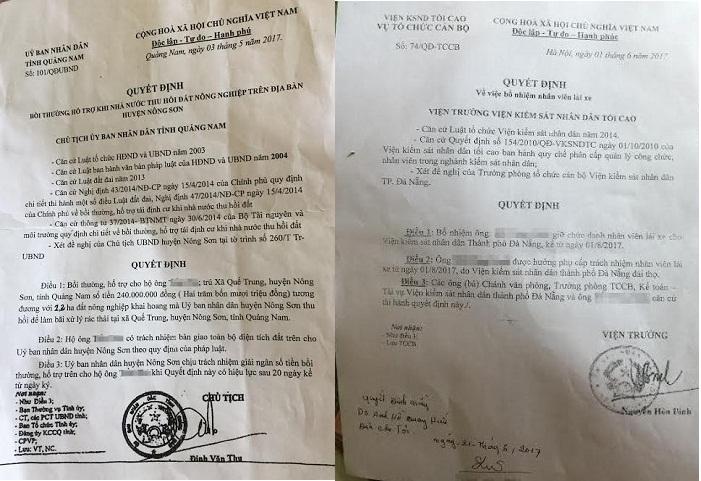 Các quyết định giả mà Hồ Quang H. đã đưa cho nạn nhân.