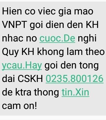VNPT Quảng Nam cảnh báo việc mạo danh VNPT đòi nợ khách hàng. Ảnh: C.N