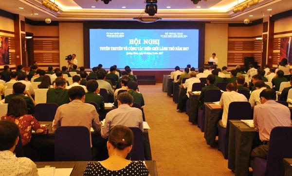 Quang cảnh hội nghị tuyên truyền công tác biên giới lãnh thổ ngày 8.9. Ảnh: N.Đ