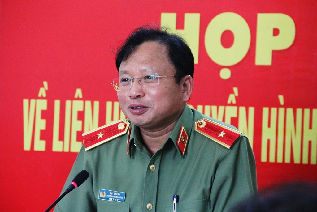 Thiếu tướng Mai Văn Hà - Phó Tổng Cục trưởng Tổng cục III phát biểu tại buổi họp báo. Ảnh: ALĂNG NGƯỚC