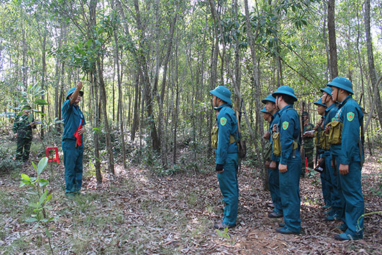 Đội ngũ chỉ huy phó Ban CHQS xã tham gia phần thi giảng bài đội ngũ chiến thuật. Ảnh: D.LÊ