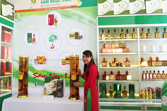 Quảng Nam hiện có gần 100 sản phẩm từ sâm Ngọc Linh. Ảnh: H.L