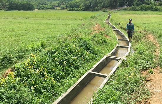 Tuyến kênh tiêu nước ở cánh đồng Bờ Làng được hoàn thành trong sự phấn khởi của người dân xã Quế Phước. Ảnh: V.C