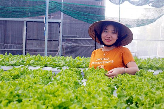 Chị Huỳnh Thị Sang bên vườn rau trồng theo phương pháp thủy canh hồi lưu. Ảnh: HỒNG CƯỜNG