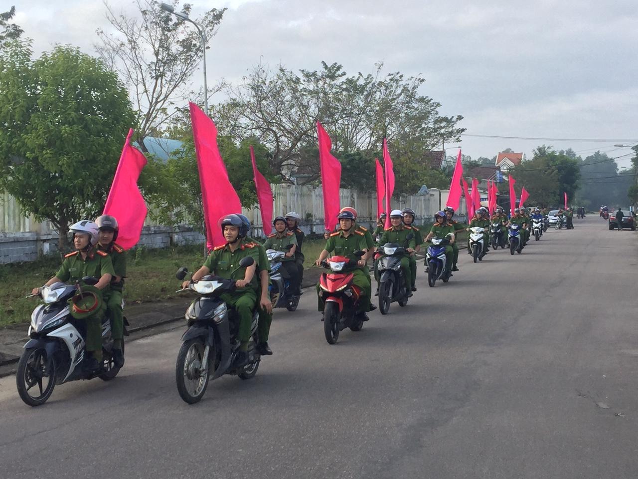 Công an Phú Ninh ra quân tấn công, trấn áp tội phạm. Ảnh: L.T