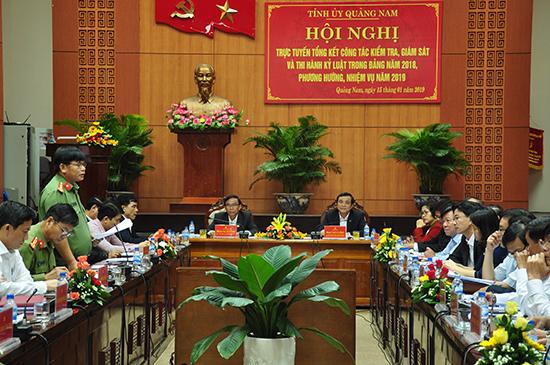 Tỉnh ủy tổ chức hội nghị trực tuyến tổng kết công tác kiểm tra, giám sát và thi hành kỷ luật Đảng năm 2018. Ảnh: N.Đ